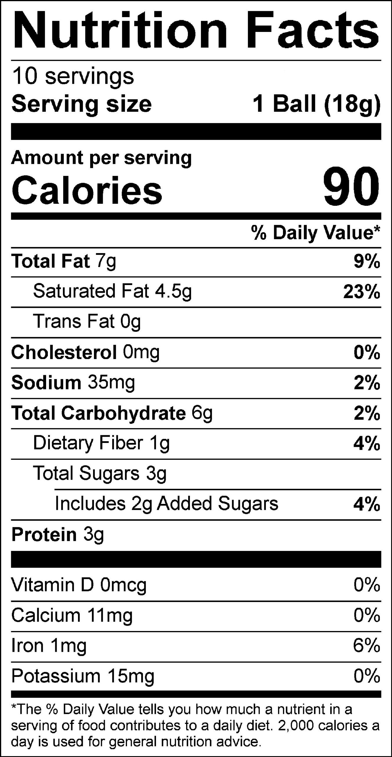 Peanut Butter Protein Buckeyes Label 9.2