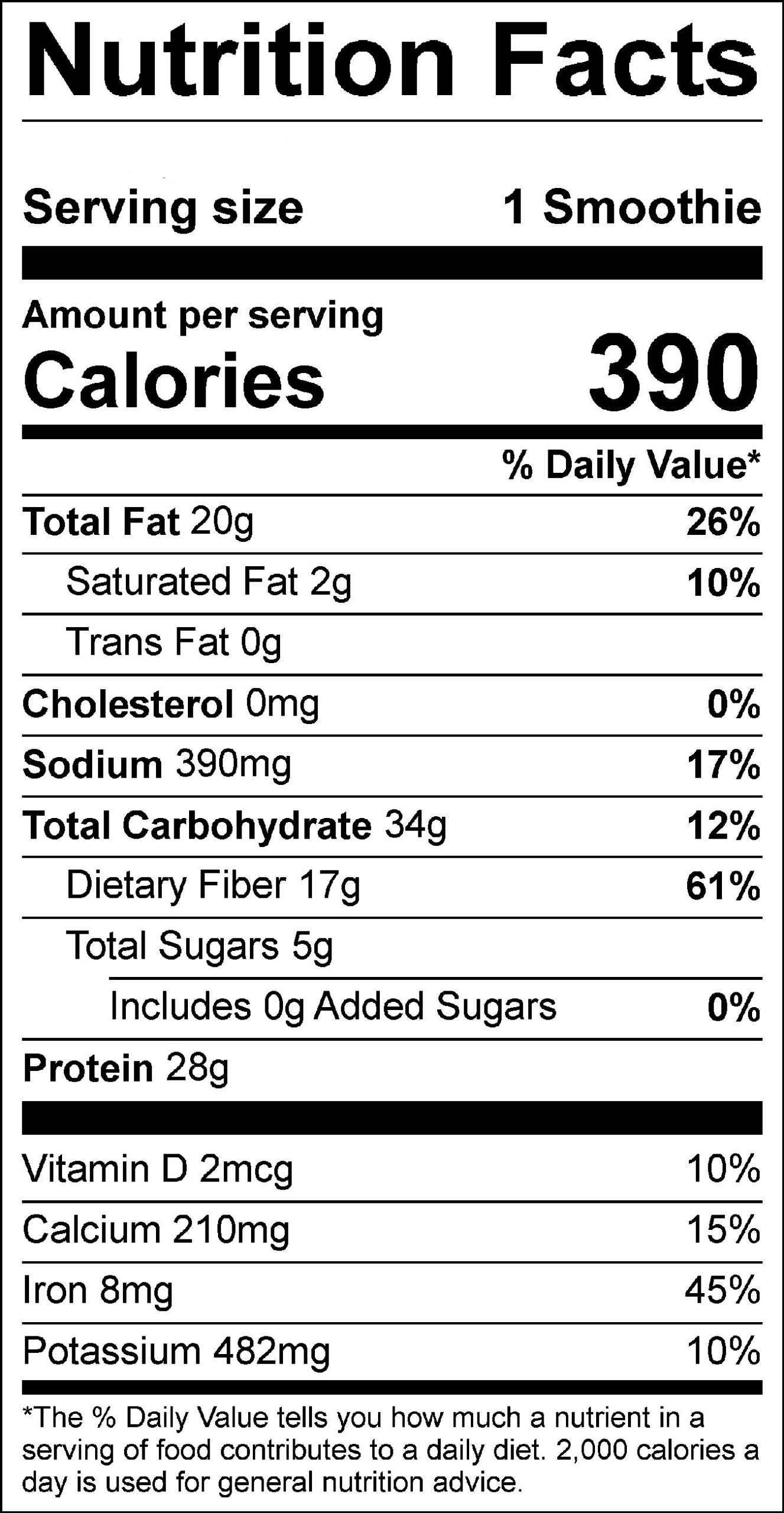 Low Sugar Berry Smoothie Label